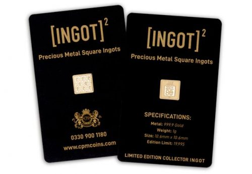 1g ingot square on card